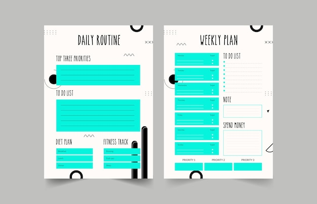 Minimalistische planer. tägliche, wöchentliche, monatliche planervorlage. bullet journal.