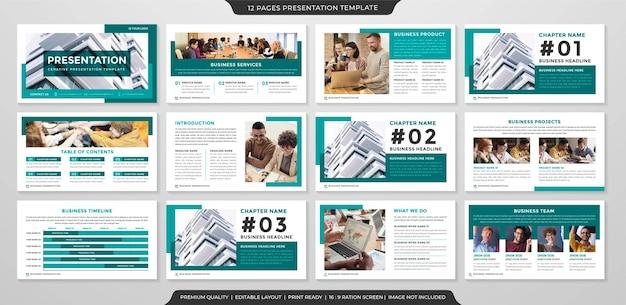 Minimalistische powerpoint-layout-vorlage im premium-stil
