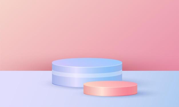 Minimalistische produktpräsentation mit geometrischer plattform, zylinderpodest in blaurosa hintergrund