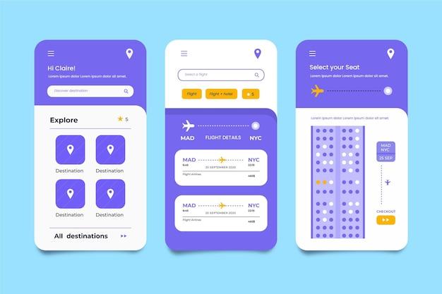 Minimalistische reisebuchungs-app