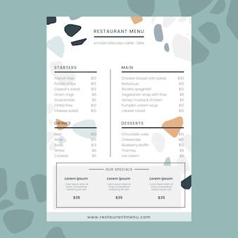 Minimalistische restaurantmenüvorlage