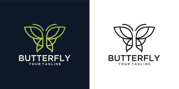 Minimalistische schönheit der schmetterlingslinie, luxuriöser spa-stil. logo design
