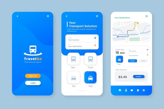 Minimalistische smartphone-app für die vorlage für öffentliche verkehrsmittel