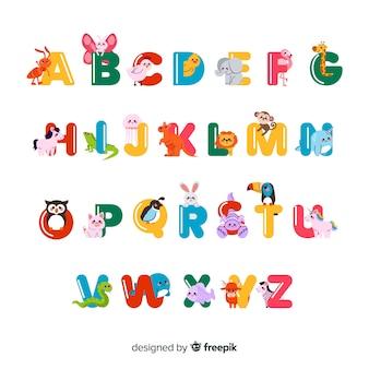 Minimalistische tiere, die das alphabet bilden