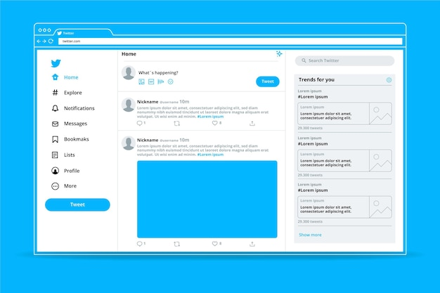 Minimalistische twitter-schnittstellenvorlage