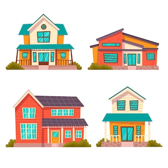 Minimalistische verschiedene häuser gesetzt