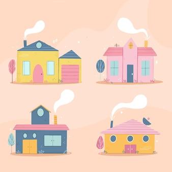 Minimalistische verschiedene häuser packen