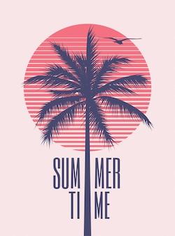 Minimalistische vintage gestylte plakatentwurfsschablone der sommerzeit mit palmenschattenbild und roter sonne auf hintergrund für sommerfest oder ereignis. illustration