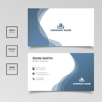 Minimalistische visitenkarte. horizontale einfache saubere schablonenvektordesign der blauen und weißen farbe der steigung