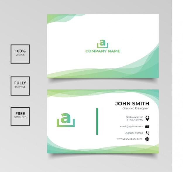 Minimalistische visitenkarte. horizontale einfache saubere schablonenvektordesign der grünen und weißen farbe der steigung