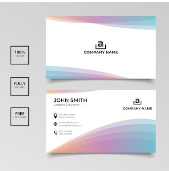 Minimalistische visitenkarte. steigungsregenbogen und weiße farbhorizontales einfaches sauberes schablonenvektordesign
