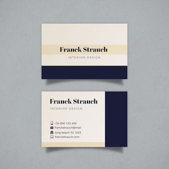 Minimalistische visitenkartenschablone mit blauem und weißem design