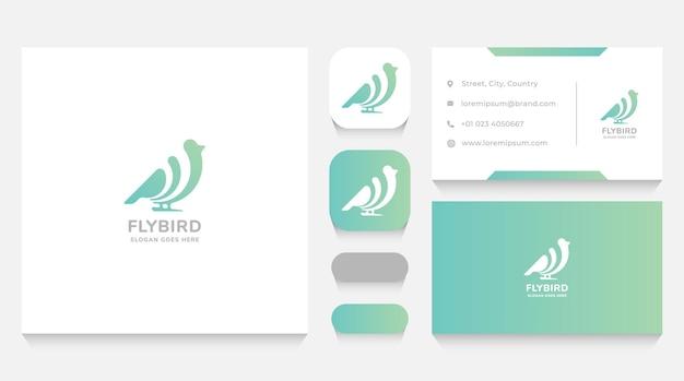 Minimalistische vogel-logo-vorlage und visitenkarte