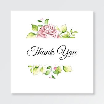 Minimalistische vorlagenkarte danke mit aquarellblumen
