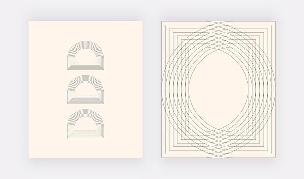 Minimalistische wandkunstdrucke mit schwarzen geometrischen linien
