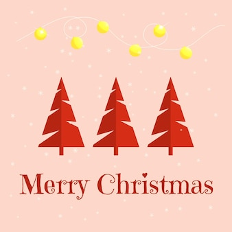Minimalistische weihnachtskarte mit weihnachtsbäumen. vektor-illustration.