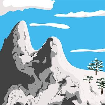 Minimalistische winterberglandschaft blauer himmel schneebedeckte gipfel und tannenbäume flache vektorillustration