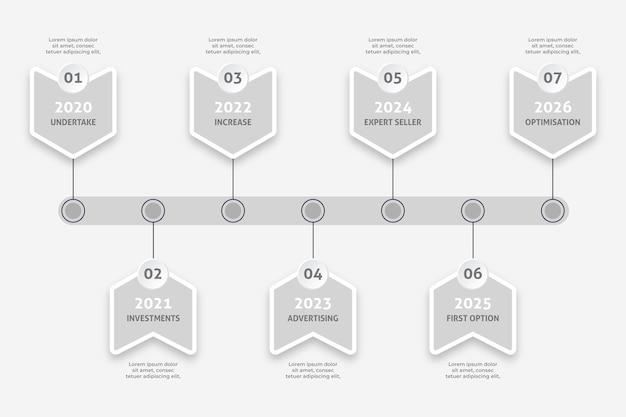 Minimalistische zeitleisten-infografik