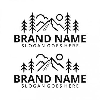 Minimalistischer berg mit sun logo template set