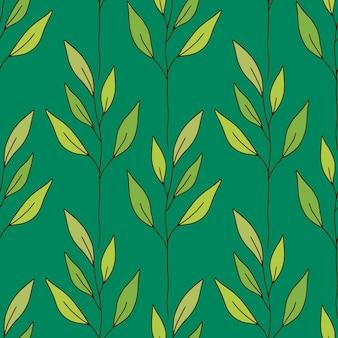 Minimalistischer botanischer nahtloser hintergrund. grüne blätter muster