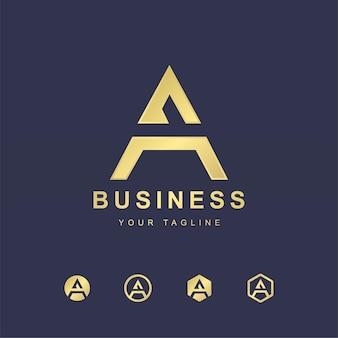 Minimalistischer buchstabe ein logo-schablonendesign. modernes logo-konzept mit goldenem verlaufseffekt