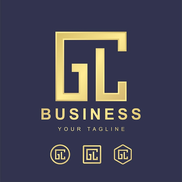 Minimalistischer buchstabe gc gc logo-vorlagenentwurf. modernes logo-konzept mit goldenem verlaufseffekt