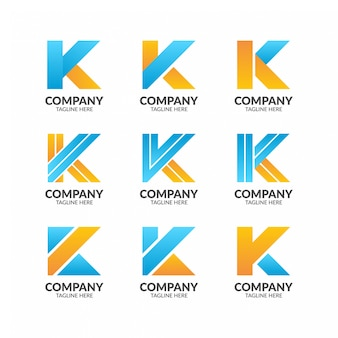 Minimalistischer buchstabe k logo collection