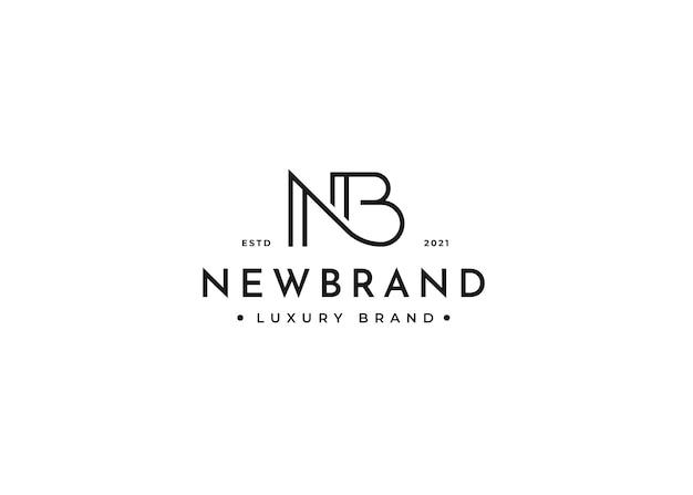 Minimalistischer buchstabe nb logo-design-vorlage