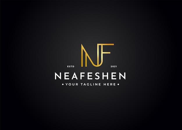 Minimalistischer buchstabe nf luxus-logo-design-vorlage