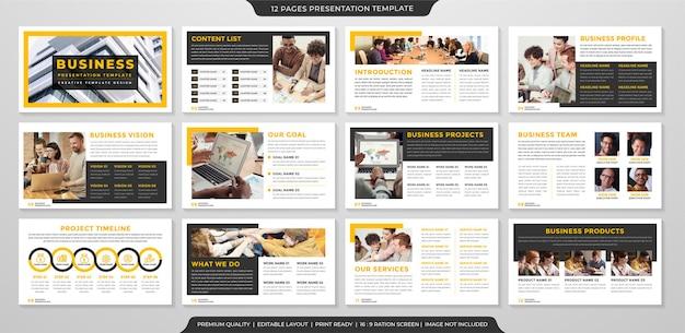 Minimalistischer business-präsentationsvorlagen-premium-stil