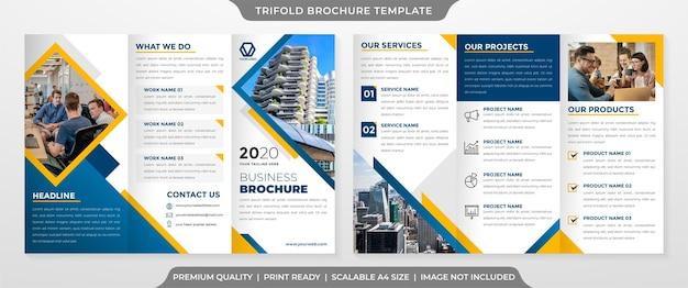 Minimalistischer business trifold broschüre vorlage premium-stil