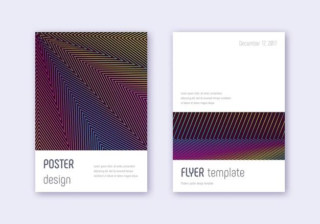 Minimalistischer cover-vorlagensatz. abstrakte linien des regenbogens auf weinrotem hintergrund.