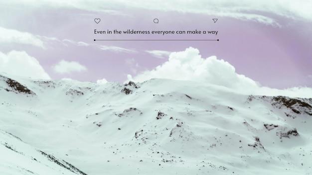 Minimalistischer desktop-hintergrund mit schneelandschaft