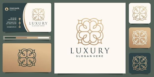 Minimalistischer eleganter goldener luxusverzierungsmuster-linienkunstgoldlogodesign und visitenkarte