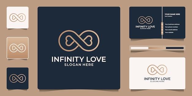Minimalistischer, eleganter infinity-luxus-schönheitssalon, mode, hautpflege, kosmetik, yoga und spa-produkte. logo-vorlagen und visitenkarten-design.