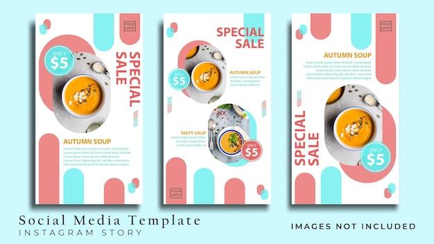 Minimalistischer flyer für gesundes essen oder social-media-geschichte premium-vektor