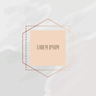 Minimalistischer goldener rahmen über weißem marmorbeschaffenheitshintergrund, buntes design. vektor-illustration
