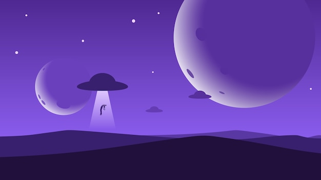 Minimalistischer hintergrund der berglandschaft, ufo entführt einen mann, planeten oder monde am nachthimmel.