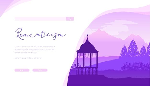 Minimalistischer hintergrund der pavillonschattenbildlandschaft. homepage des online-shops für gartenmöbel.