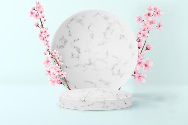 Minimalistischer hintergrund mit japanischer sakura in pastellfarben. realistischer sockel aus leerem marmor für die produktausstellung.