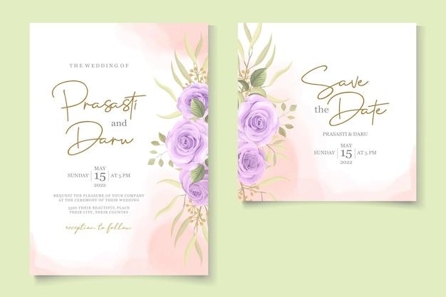 Minimalistischer hochzeitseinladungsentwurf mit lila rosen