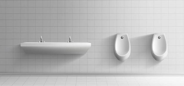 Minimalistischer innenraum des öffentlichen toilettenraums der männer