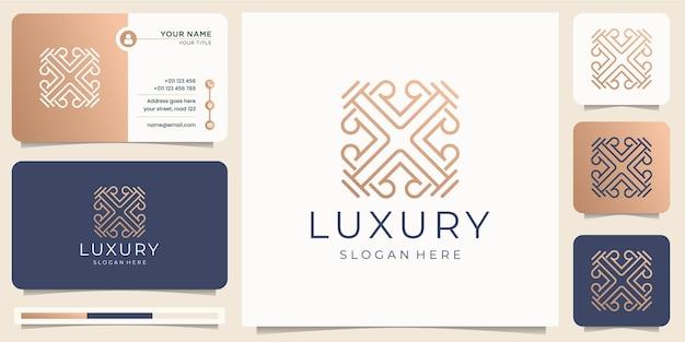 Minimalistischer luxus-strichkunststil. abstraktes design des ornamentlogos mit visitenkartenschablone