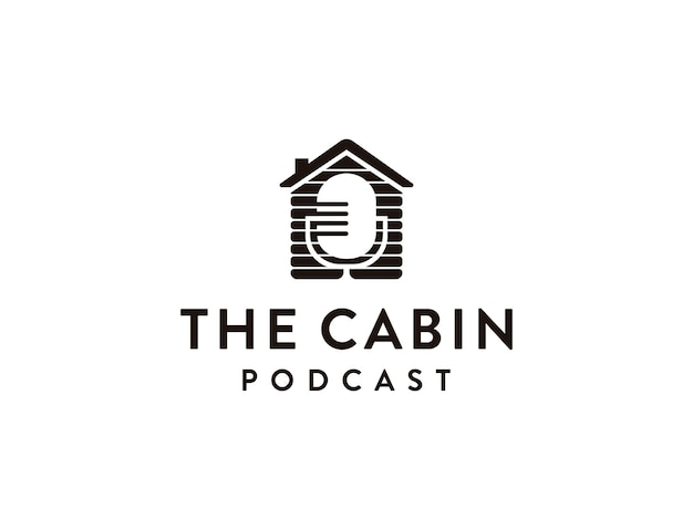 Minimalistischer mikrofonkabinen-podcast-logo-symbolvektor
