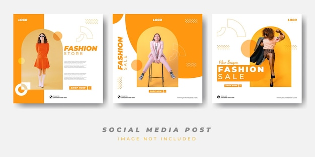 Minimalistischer modeverkauf social media post template collection