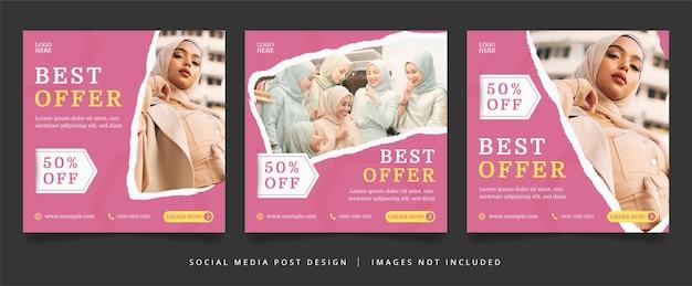Minimalistischer pink fashion flyer oder social media banner