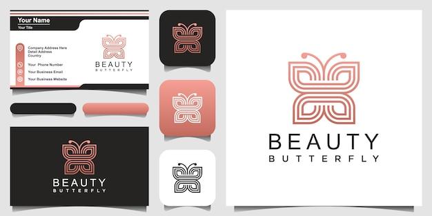 Minimalistischer schmetterlingslinienkunststil. schönheit, luxuriöser spa-stil. logo- und visitenkarten-design.