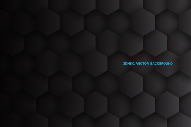 Minimalistischer schwarzer abstrakter hintergrund der 3d-sechsecke