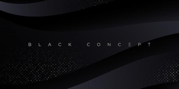 Minimalistischer schwarzer premium abstrakter hintergrund mit dunklen geometrischen luxuselementen. exklusive tapete für poster, broschüre, präsentation, website, banner etc. -