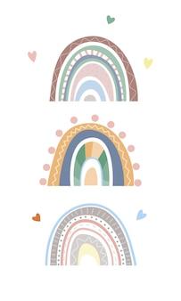 Minimalistischer skandinavischer regenbogen mit verschiedenen dekorativen elementen von doodles lines heart